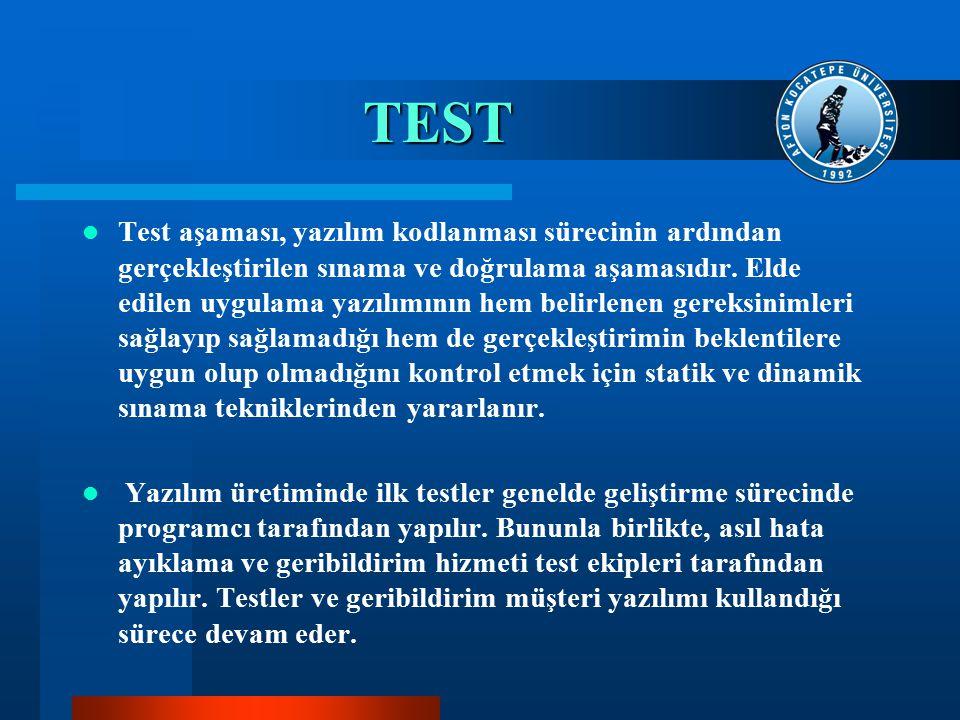 TEST Test aşaması, yazılım kodlanması sürecinin ardından gerçekleştirilen sınama ve doğrulama aşamasıdır. Elde edilen uygulama yazılımının hem belirle