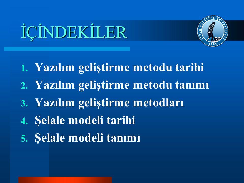 İÇİNDEKİLER 6.Şelale modeli aşamaları 7. Şelale modeli özellikleri 8.