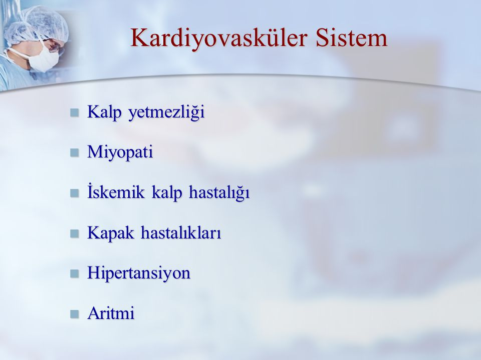 Pulmoner Komplikasyonlar İçin Risk Göstergeleri Öksürük Öksürük Dispne Dispne Pulmoner hastalık Pulmoner hastalık Sigara Sigara Obesite Obesite Abdominal veya torasik cerrahi Abdominal veya torasik cerrahi Diafragma cerrahisi Diafragma cerrahisi FEV1 <2 L FEV1 <2 L Pco2 >=45 mm Hg Pco2 >=45 mm Hg Po2 <=50 mm Hg Po2 <=50 mm Hg