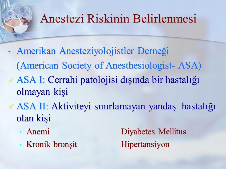 Anestezi Riskinin Belirlenmesi En önemli konu olup, sadece anestezist tarafından üstlenilmelidir En önemli konu olup, sadece anestezist tarafından üstlenilmelidir Hayati bir cerrahi endikasyon varsa sorun hastanın anestezi alıp almayacağı değil, en iyi şekilde nasıl anestetize edileceği olmalıdır Hayati bir cerrahi endikasyon varsa sorun hastanın anestezi alıp almayacağı değil, en iyi şekilde nasıl anestetize edileceği olmalıdır