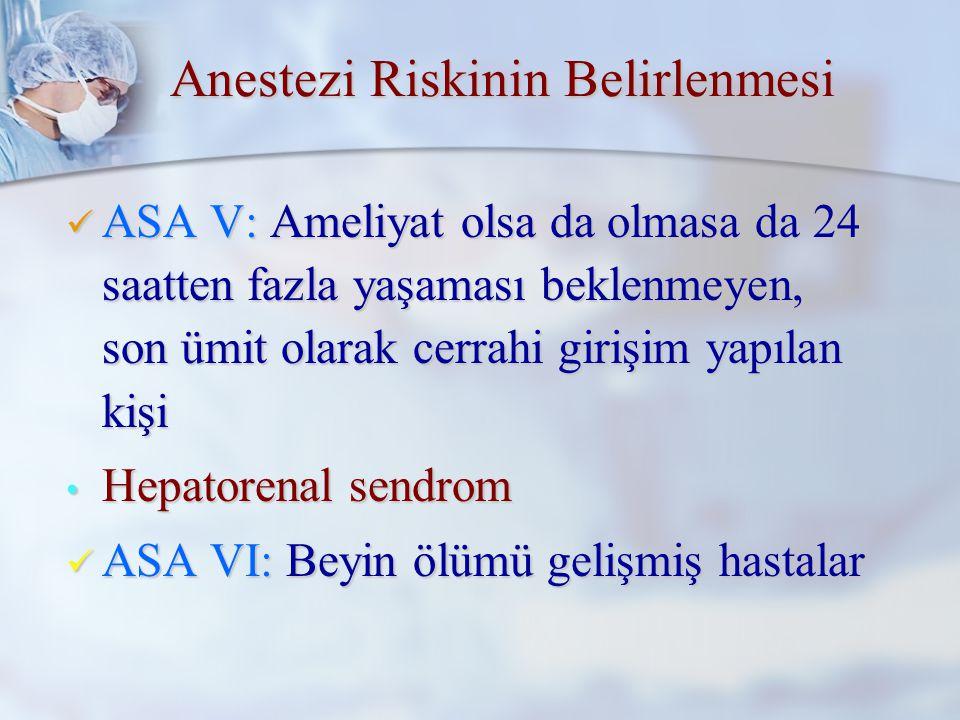ASA III: Aktiviteyi sınırlayan yandaş hastalığı olan kişi ASA III: Aktiviteyi sınırlayan yandaş hastalığı olan kişi Geçirilmiş myokard infarktüsü Geçirilmiş myokard infarktüsü KOAH KOAH ASA IV: Hayatı sürekli tehdit eden yandaş hastalığı olan kişi ASA IV: Hayatı sürekli tehdit eden yandaş hastalığı olan kişi Konjestif kalp yetmezliği Konjestif kalp yetmezliği Karaciğer yetmezliği Karaciğer yetmezliği Anestezi Riskinin Belirlenmesi