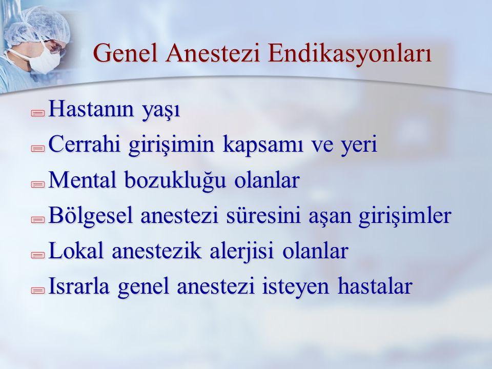 Anestezi tipinin seçimi Sedo-analjezi (MAC) Genel anestezi Rejyonal anestezi