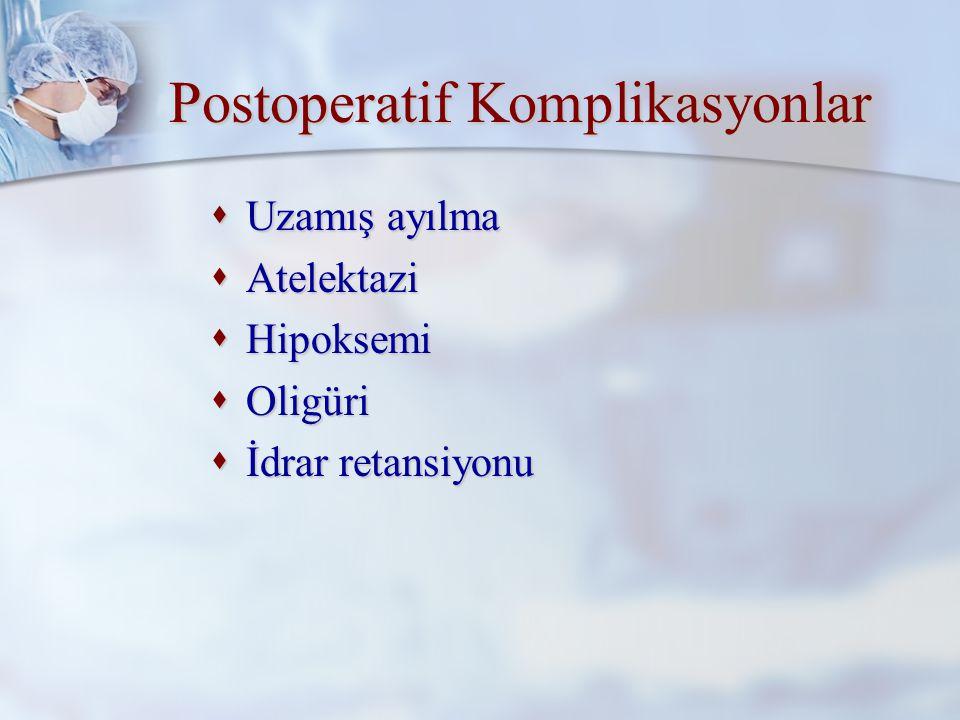 Postoperatif Komplikasyonlar  Hipertansiyon  Hipotansiyon  Bulantı ve kusma  Aspirasyon  Kanama  Delirium