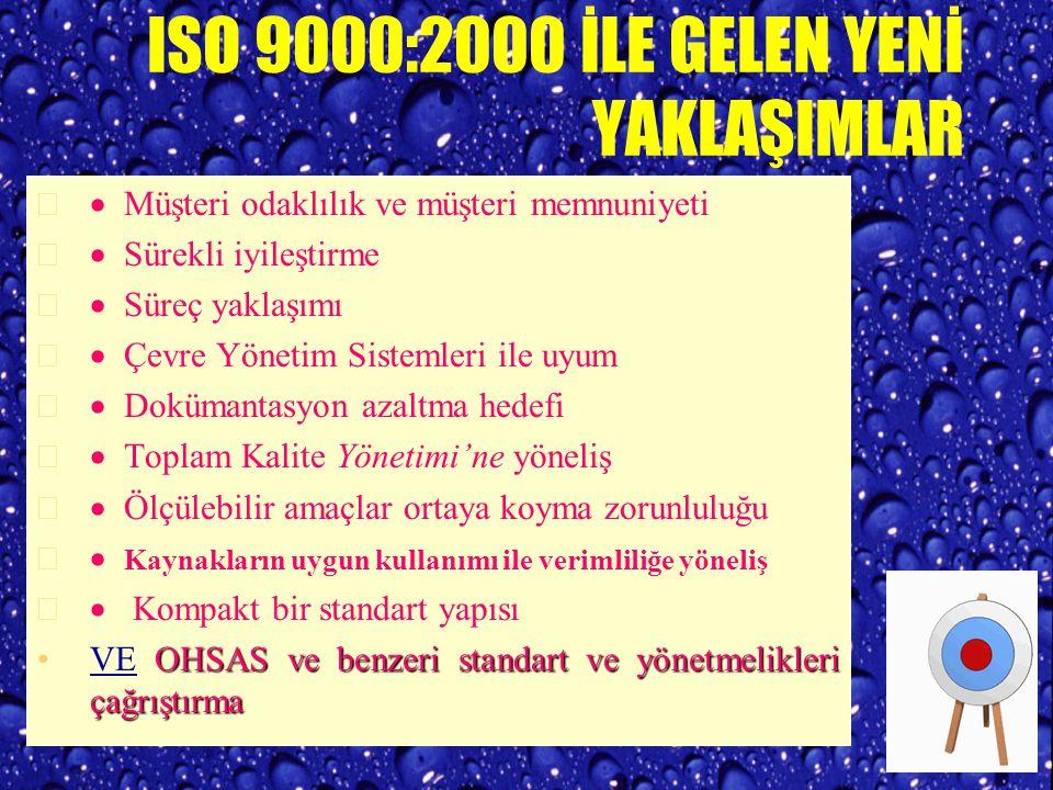 ISO 9000: 1994 ISO 9000:1994 standartları kalite sistemleri açısından çok önemli olan aşağıdaki bazı fonksiyonları yerine getirememiştir : a) kalite maliyet analizi ve uygulamaları, b) motivasyon, c) yapılan işlerden zevk alınması ve gurur duyulması, d) iyileştirme çalışmalarının birçok projelerle gerçekleştirilmesi, e) varyasyonun azaltılması, f) katılımcılığının sağlanması, g) tek tedarikçi ile uzun süreli ve güvene dayanan ilişki, h) yenilikçilik, ı) işçi sağlığı ve iş güvenliği, ve i) çevresel koruma önlemleri.