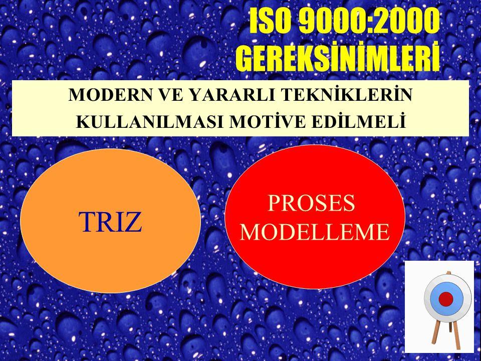 STANDARD JENERİK VE GENEL OLMALIYDI... ISO 9000:2000 Muğlak ifadeler... Yol göstericilik ? Daha çok denetlenebilir özellik... Proses Modelleme ve Yöne