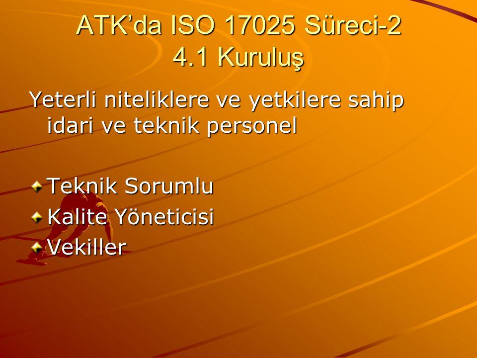 ATK'da ISO 17025 Süreci-2 4.1 Kuruluş Yeterli niteliklere ve yetkilere sahip idari ve teknik personel Teknik Sorumlu Kalite Yöneticisi Vekiller