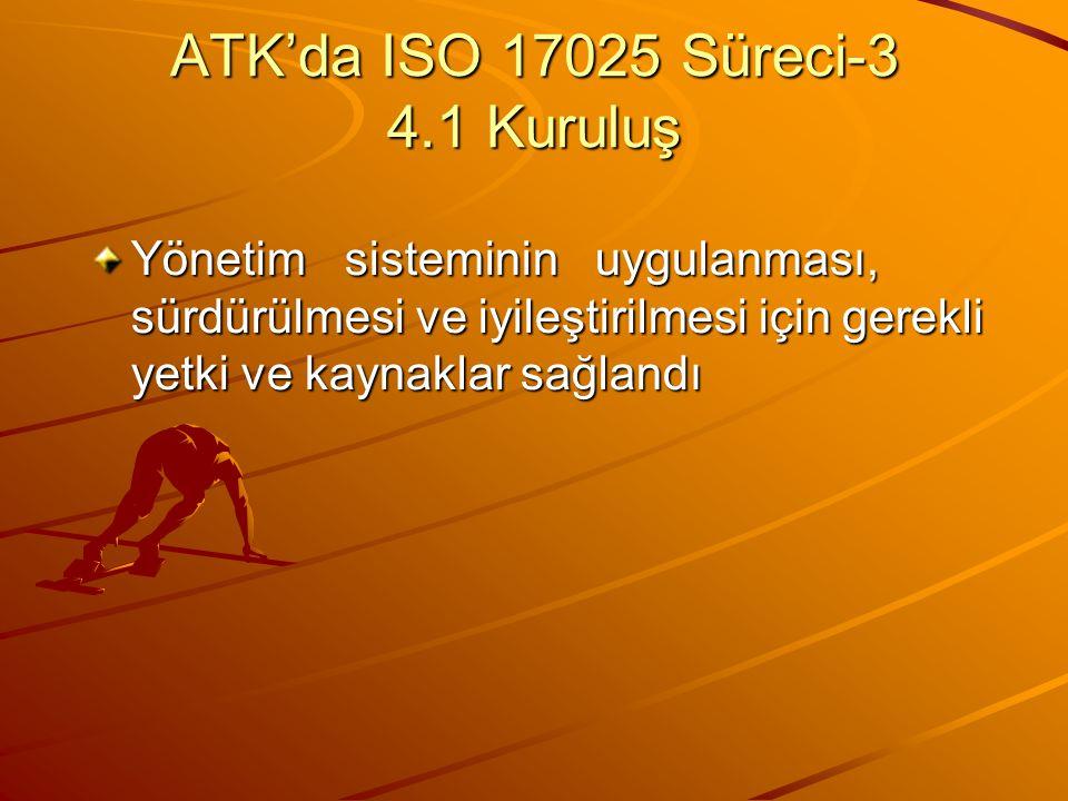 ATK'da ISO 17025 Süreci-3 4.1 Kuruluş Yönetim sisteminin uygulanması, sürdürülmesi ve iyileştirilmesi için gerekli yetki ve kaynaklar sağlandı