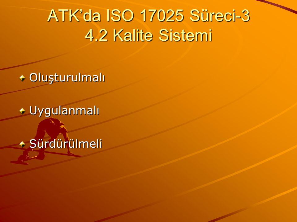 ATK'da ISO 17025 Süreci-3 4.2 Kalite Sistemi OluşturulmalıUygulanmalıSürdürülmeli