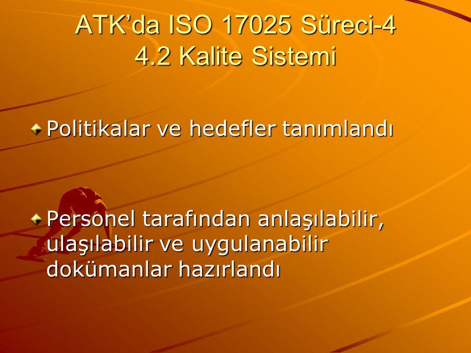 ATK'da ISO 17025 Süreci-4 4.2 Kalite Sistemi Politikalar ve hedefler tanımlandı Personel tarafından anlaşılabilir, ulaşılabilir ve uygulanabilir doküm