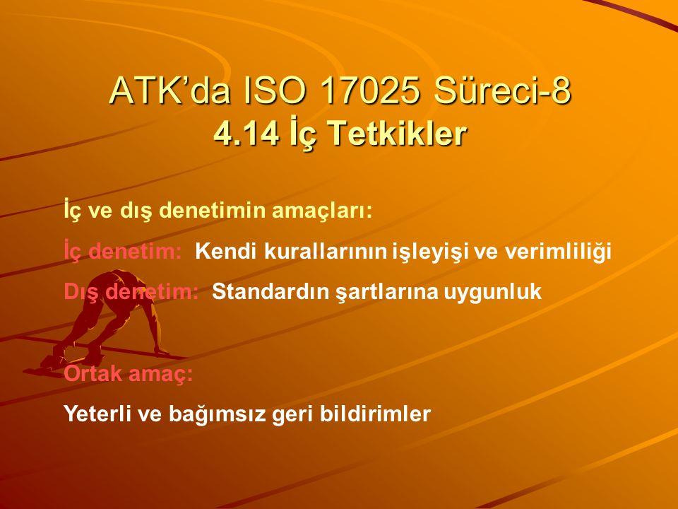 ATK'da ISO 17025 Süreci-8 4.14 İç Tetkikler İç ve dış denetimin amaçları: İç denetim: Kendi kurallarının işleyişi ve verimliliği Dış denetim: Standard