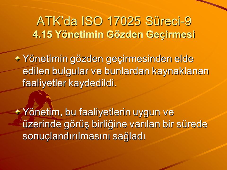 ATK'da ISO 17025 Süreci-9 4.15 Yönetimin Gözden Geçirmesi Yönetimin gözden geçirmesinden elde edilen bulgular ve bunlardan kaynaklanan faaliyetler kay