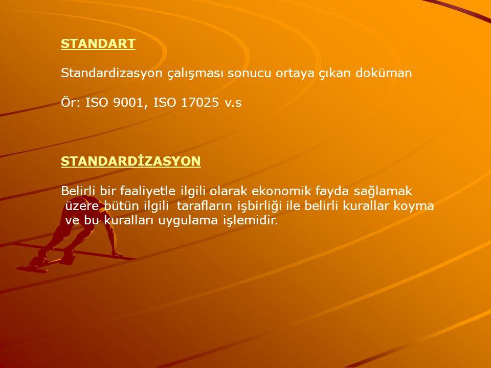 STANDART Standardizasyon çalışması sonucu ortaya çıkan doküman Ör: ISO 9001, ISO 17025 v.s STANDARDİZASYON Belirli bir faaliyetle ilgili olarak ekonom