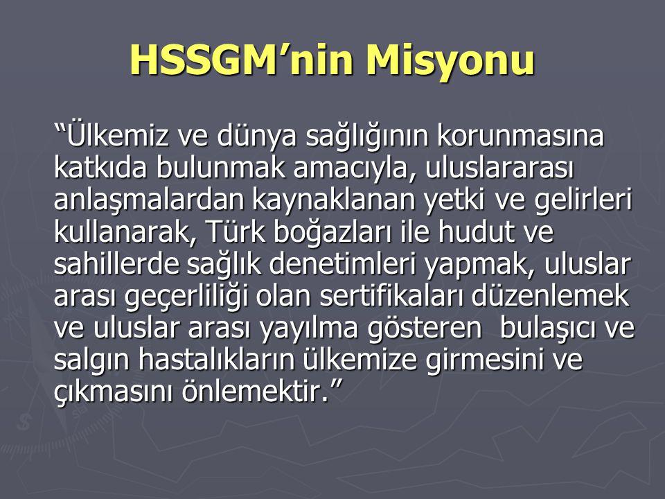 """HSSGM'nin Misyonu """"Ülkemiz ve dünya sağlığının korunmasına katkıda bulunmak amacıyla, uluslararası anlaşmalardan kaynaklanan yetki ve gelirleri kullan"""