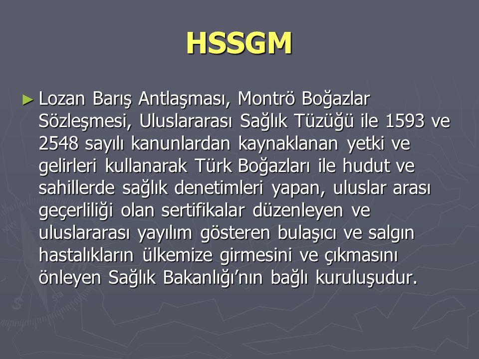 HSSGM ► Lozan Barış Antlaşması, Montrö Boğazlar Sözleşmesi, Uluslararası Sağlık Tüzüğü ile 1593 ve 2548 sayılı kanunlardan kaynaklanan yetki ve gelirl