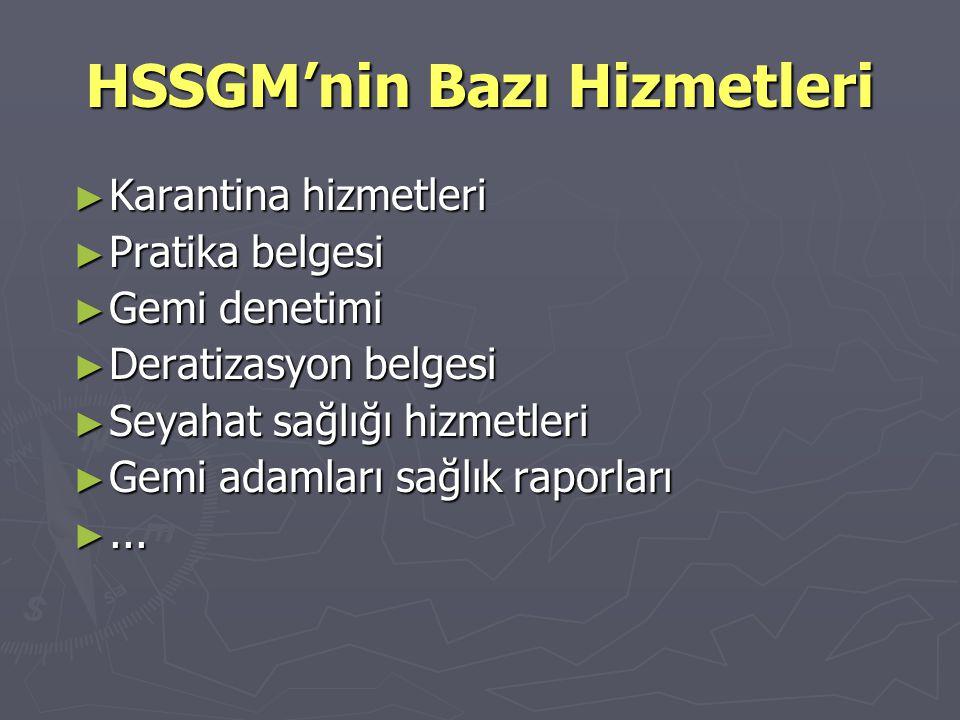 HSSGM'nin Organizasyonu ► Merkez: İstanbul ► 80 sağlık denetleme merkezi ► 500 personel ► 2 Gn.