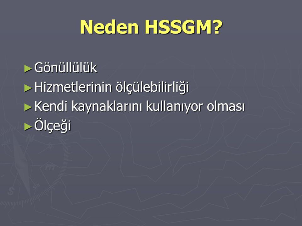 Neden HSSGM? ► Gönüllülük ► Hizmetlerinin ölçülebilirliği ► Kendi kaynaklarını kullanıyor olması ► Ölçeği