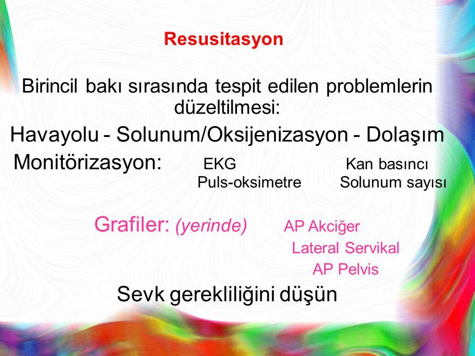Resusitasyon Birincil bakı sırasında tespit edilen problemlerin düzeltilmesi: Havayolu - Solunum/Oksijenizasyon - Dolaşım Monitörizasyon: EKGKan basın