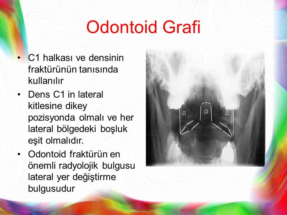 Odontoid Grafi C1 halkası ve densinin fraktürünün tanısında kullanılır Dens C1 in lateral kitlesine dikey pozisyonda olmalı ve her lateral bölgedeki b