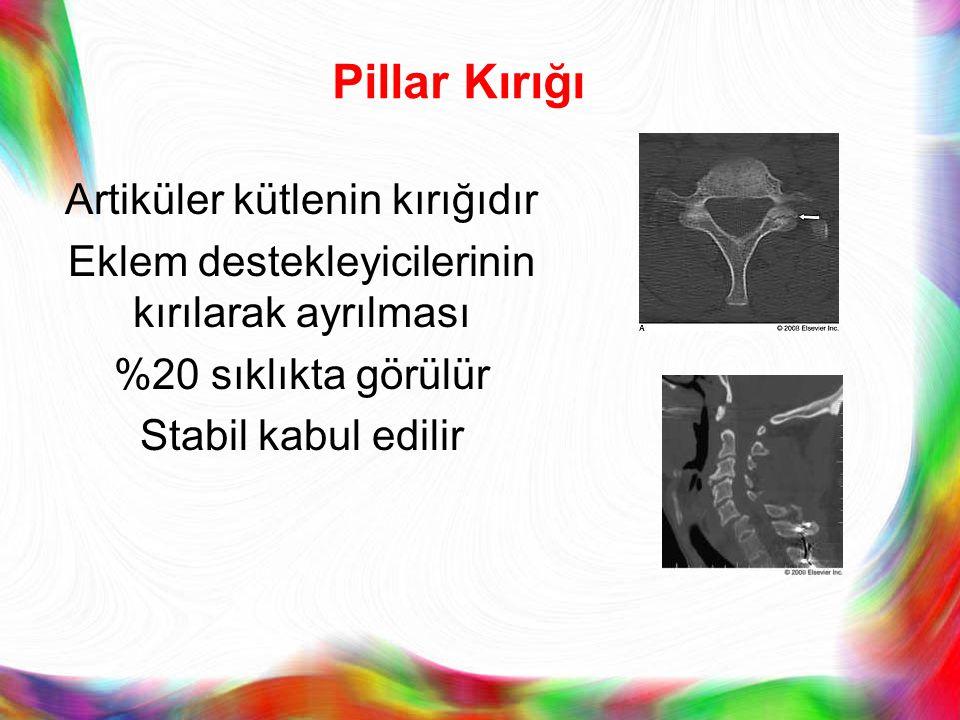 Pillar Kırığı Artiküler kütlenin kırığıdır Eklem destekleyicilerinin kırılarak ayrılması %20 sıklıkta görülür Stabil kabul edilir