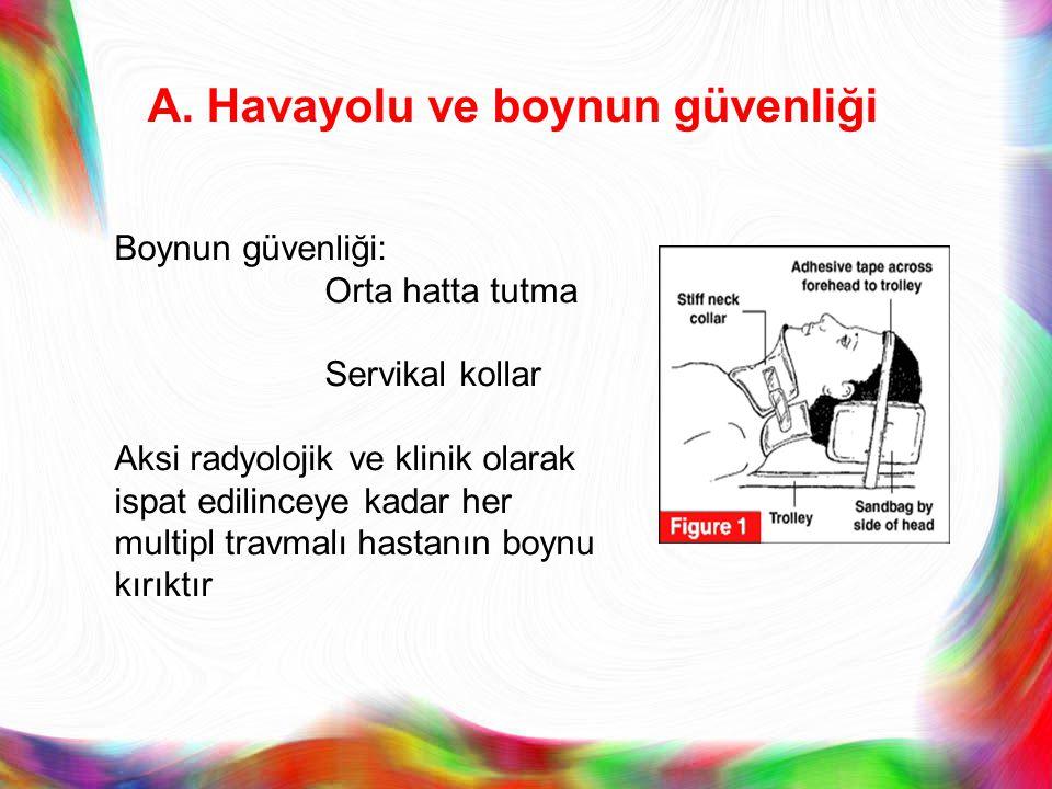 A. Havayolu ve boynun güvenliği Boynun güvenliği: Orta hatta tutma Servikal kollar Aksi radyolojik ve klinik olarak ispat edilinceye kadar her multipl