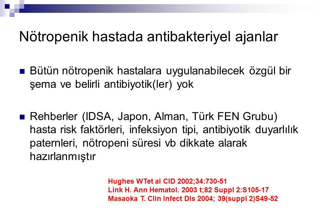 Nötropenik hastada antibakteriyel ajanlar Bütün nötropenik hastalara uygulanabilecek özgül bir şema ve belirli antibiyotik(ler) yok Rehberler (IDSA, Japon, Alman, Türk FEN Grubu) hasta risk faktörleri, infeksiyon tipi, antibiyotik duyarlılık paternleri, nötropeni süresi vb dikkate alarak hazırlanmıştır Hughes WTet al CID 2002;34:730-51 Link H.
