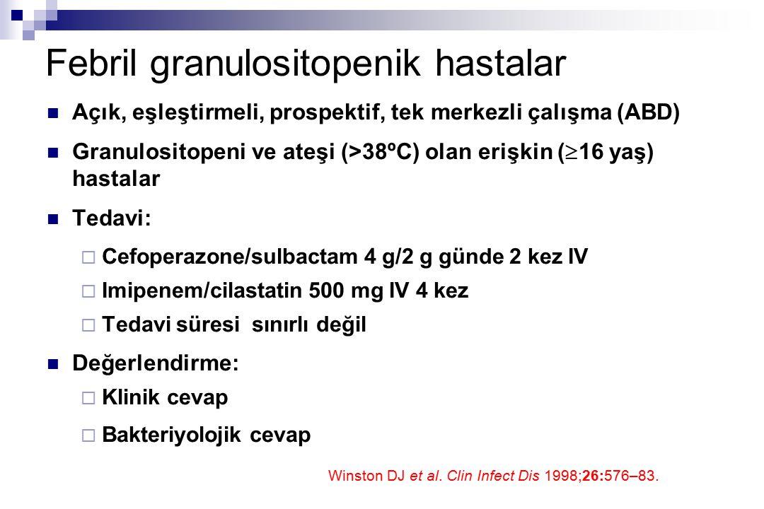 Febril granulositopenik hastalar Açık, eşleştirmeli, prospektif, tek merkezli çalışma (ABD) Granulositopeni ve ateşi (>38ºC) olan erişkin (  16 yaş)