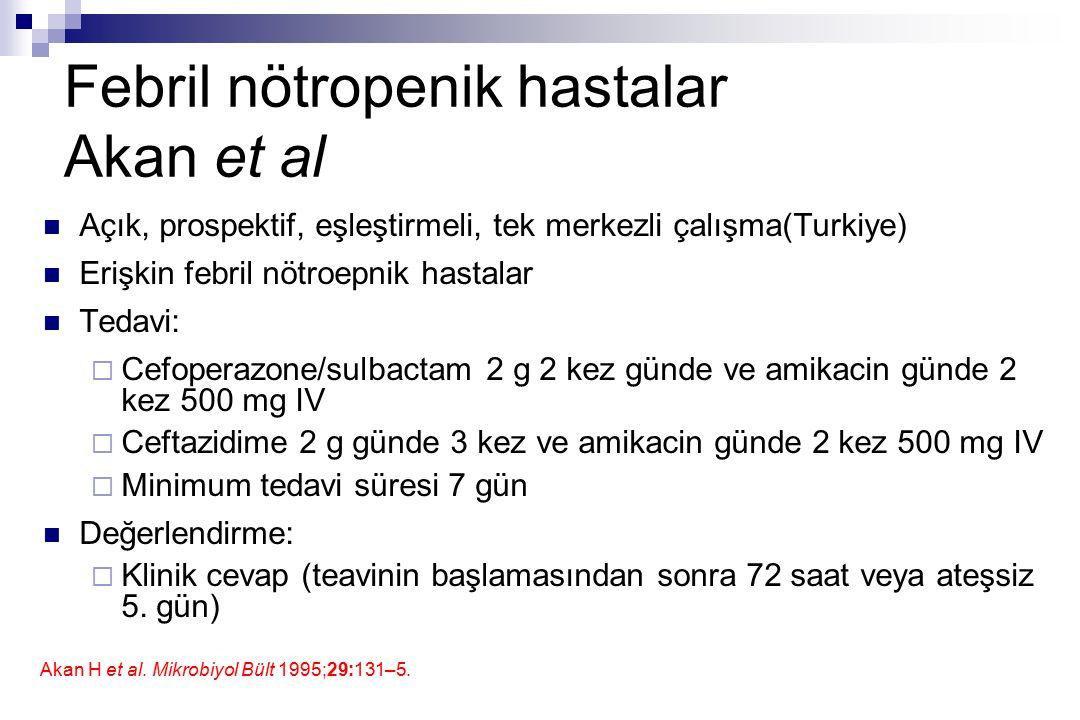 Febril nötropenik hastalar Akan et al Açık, prospektif, eşleştirmeli, tek merkezli çalışma(Turkiye) Erişkin febril nötroepnik hastalar Tedavi:  Cefop