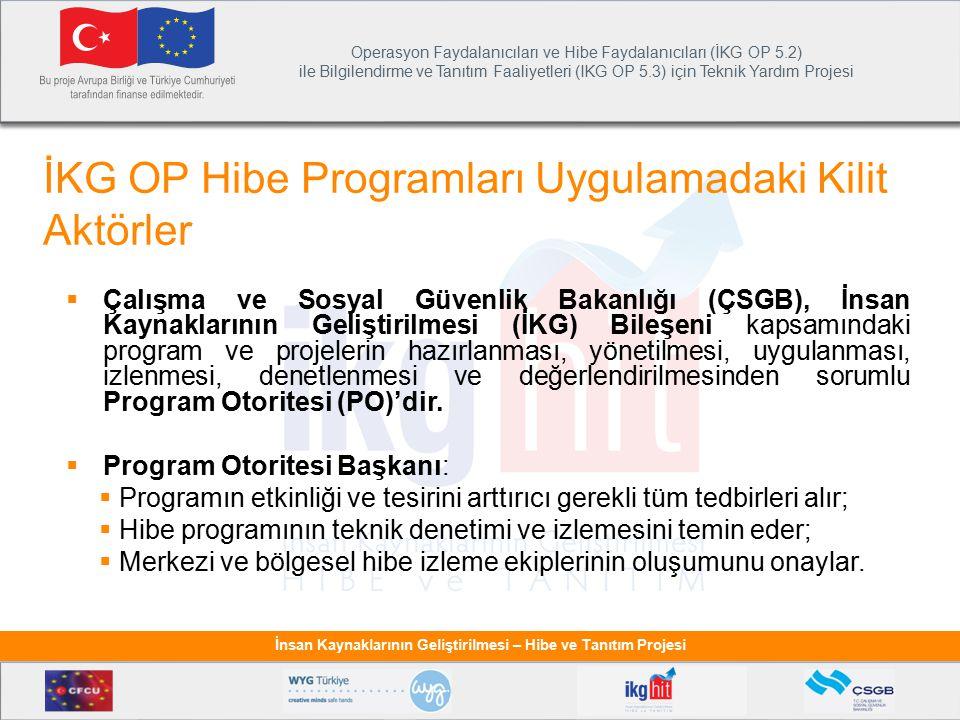 Operasyon Faydalanıcıları ve Hibe Faydalanıcıları (İKG OP 5.2) ile Bilgilendirme ve Tanıtım Faaliyetleri (IKG OP 5.3) için Teknik Yardım Projesi İnsan Kaynaklarının Geliştirilmesi – Hibe ve Tanıtım Projesi  Çalışma ve Sosyal Güvenlik Bakanlığı (ÇSGB), İnsan Kaynaklarının Geliştirilmesi (İKG) Bileşeni kapsamındaki program ve projelerin hazırlanması, yönetilmesi, uygulanması, izlenmesi, denetlenmesi ve değerlendirilmesinden sorumlu Program Otoritesi (PO)'dir.