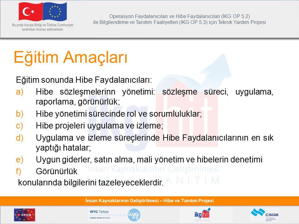 Operasyon Faydalanıcıları ve Hibe Faydalanıcıları (İKG OP 5.2) ile Bilgilendirme ve Tanıtım Faaliyetleri (IKG OP 5.3) için Teknik Yardım Projesi İnsan Kaynaklarının Geliştirilmesi – Hibe ve Tanıtım Projesi İletişim ve Görünürlük Faaliyetleri Projenin her aşamasında, uygulamasında AB'nin ve Türkiye Cumhuriyeti'nin projeye olan mali desteği vurgulanmalıdır.