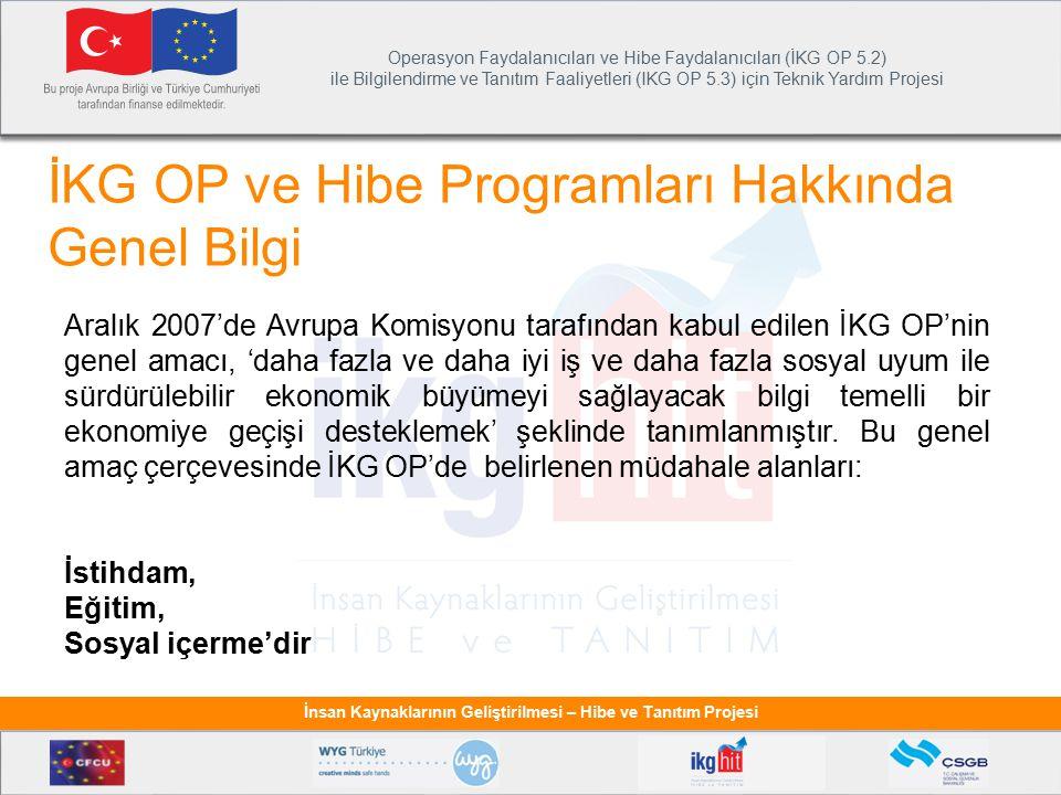 Operasyon Faydalanıcıları ve Hibe Faydalanıcıları (İKG OP 5.2) ile Bilgilendirme ve Tanıtım Faaliyetleri (IKG OP 5.3) için Teknik Yardım Projesi İnsan Kaynaklarının Geliştirilmesi – Hibe ve Tanıtım Projesi İKG OP'nin uygulanması için öncelik eksenleri ve tedbirlere uygun olarak geliştirilen programlar: Öncelik Ekseni Operasyon Faydalanıcısı Hibe Programı Başlama Tarihi Bütçe (Avro) Proje Sayısı EğitimMEB Hayat Boyu Öğrenmenin Desteklenmesi 15 Mayıs 20105.000.0004 İstihdamSGK Kayıtlı İstihdamın Desteklenmesi 15 Temmuz 2010 11.850.00042 İstihdamİŞKUR Kadın İstihdamının Desteklenmesi 30 Temmuz 2010 23.770.589132 İstihdamİŞKUR Genç İstihdamının Desteklenmesi 23 Kasım 201025.243.000128 EğitimMEB Özellikle Kız Çocuklarının Okullaşması Ocak 201110.000.00089 TOPLAM75.863.589435