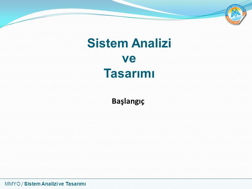 MMYO / Sistem Analizi ve Tasarımı Sistem Analizi ve Tasarımı Başlangıç