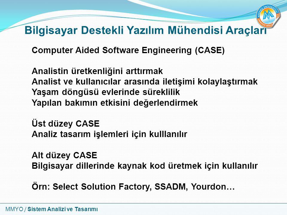 MMYO / Sistem Analizi ve Tasarımı Bilgisayar Destekli Yazılım Mühendisi Araçları Computer Aided Software Engineering (CASE) Analistin üretkenliğini ar