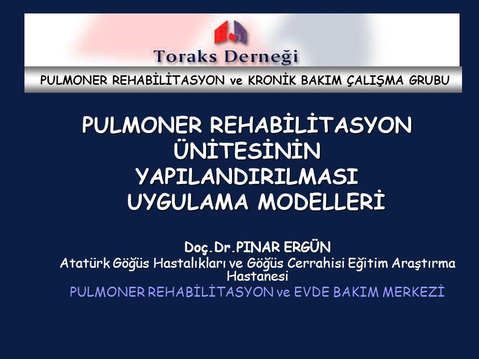 Evde pulmoner rehabilitasyon -Hastane temelli- evde denetimli -Hastane temelli-uzaktan denetimli -Denetimsiz Toplum sağlığı merkezlerinde PR Hastanede pulmoner rehabilitasyon Yataklı ve/veya ayaktan merkez Pulmoner rehabilitasyon merkezi Yatarak yada ayaktan