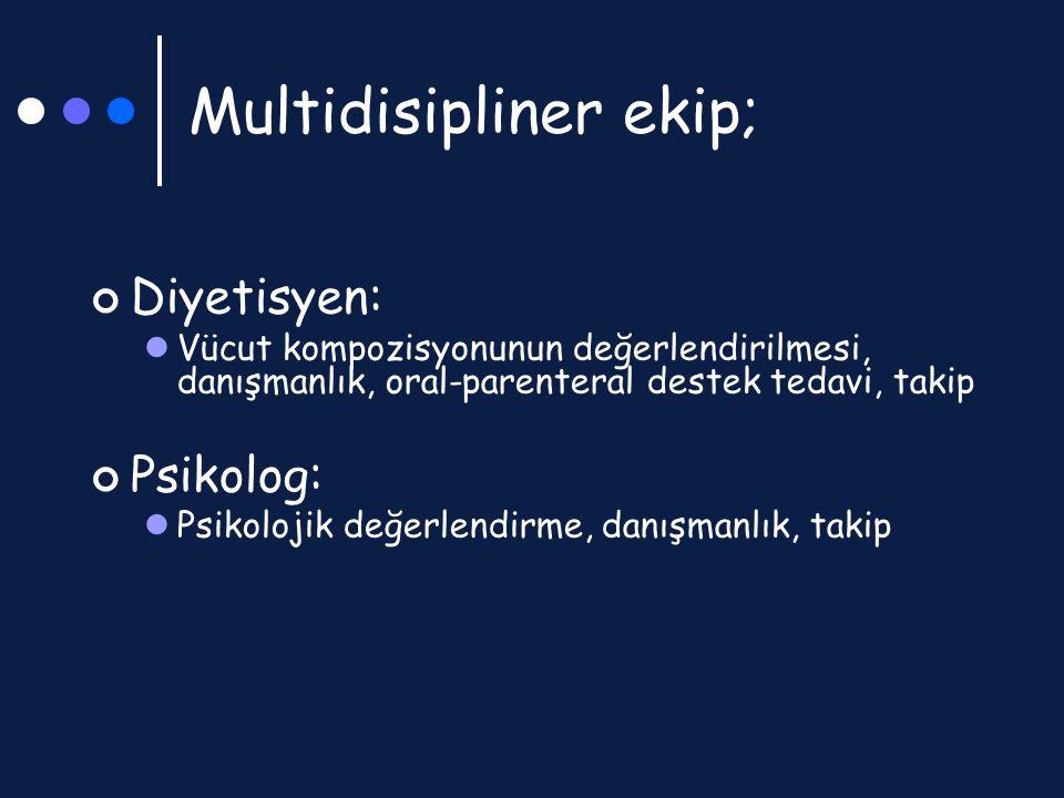 Multidisipliner ekip; Diyetisyen: Vücut kompozisyonunun değerlendirilmesi, danışmanlık, oral-parenteral destek tedavi, takip Psikolog: Psikolojik değe