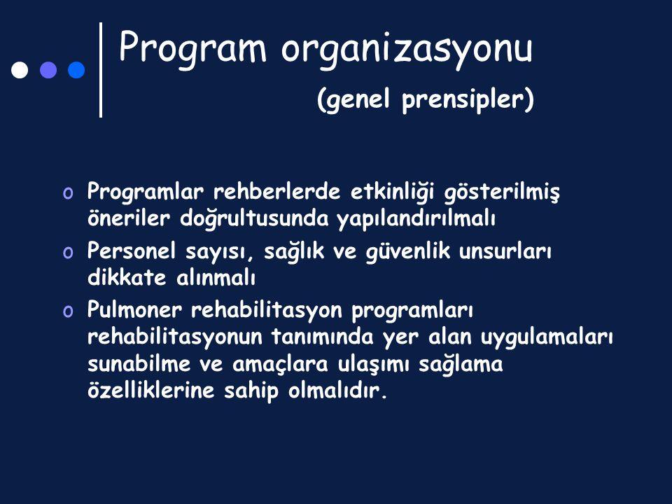 Program organizasyonu (genel prensipler) oProgramlar rehberlerde etkinliği gösterilmiş öneriler doğrultusunda yapılandırılmalı oPersonel sayısı, sağlı