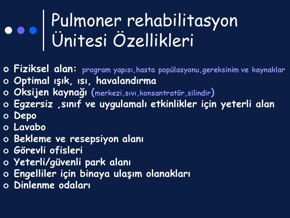 Pulmoner rehabilitasyon Ünitesi Özellikleri Fiziksel alan: program yapısı,hasta popülasyonu,gereksinim ve kaynaklar Optimal ışık, ısı, havalandırma Ok