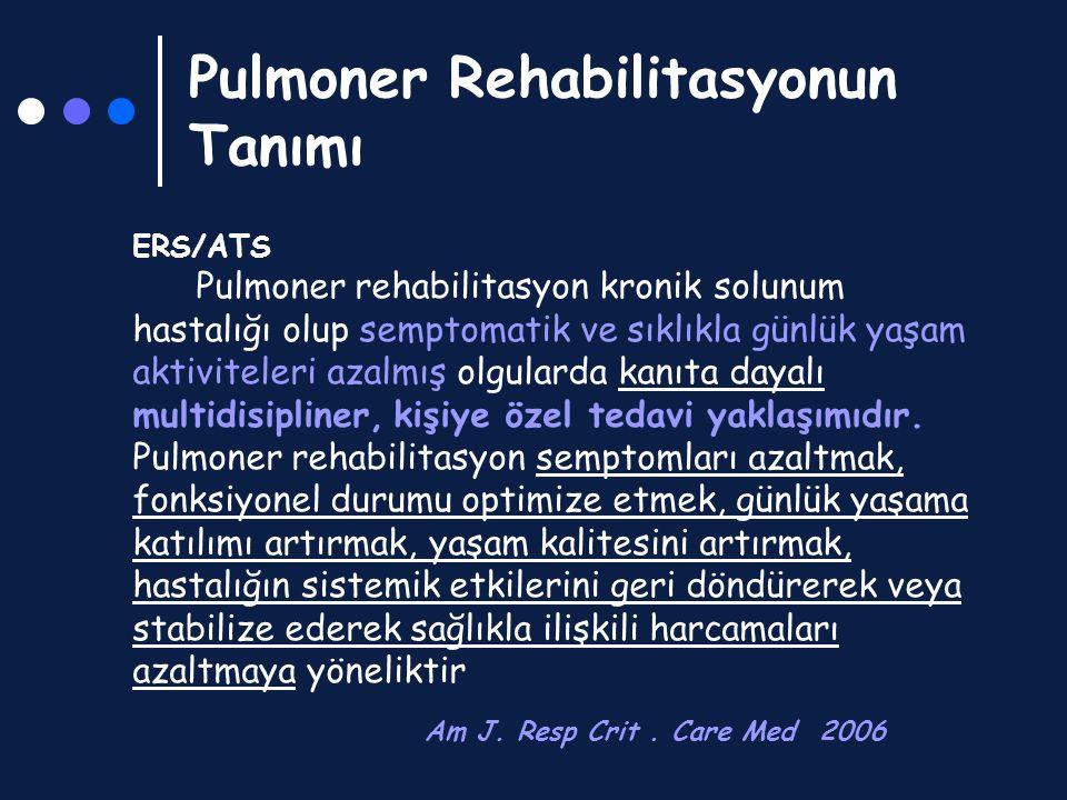 PR sonrası takip/ Program tekrarı Chest 2001;119:1696-1704 Sonuç: Pulmoner Rehabilitasyon Programlarının tekrarı, kısa süreli kazanımlar sağlasa da ek, uzun süreli fizyolojik fayda gösterilememiştir * PRP tekrarı ile yıllık atak sayında azalma sağlanmıştır