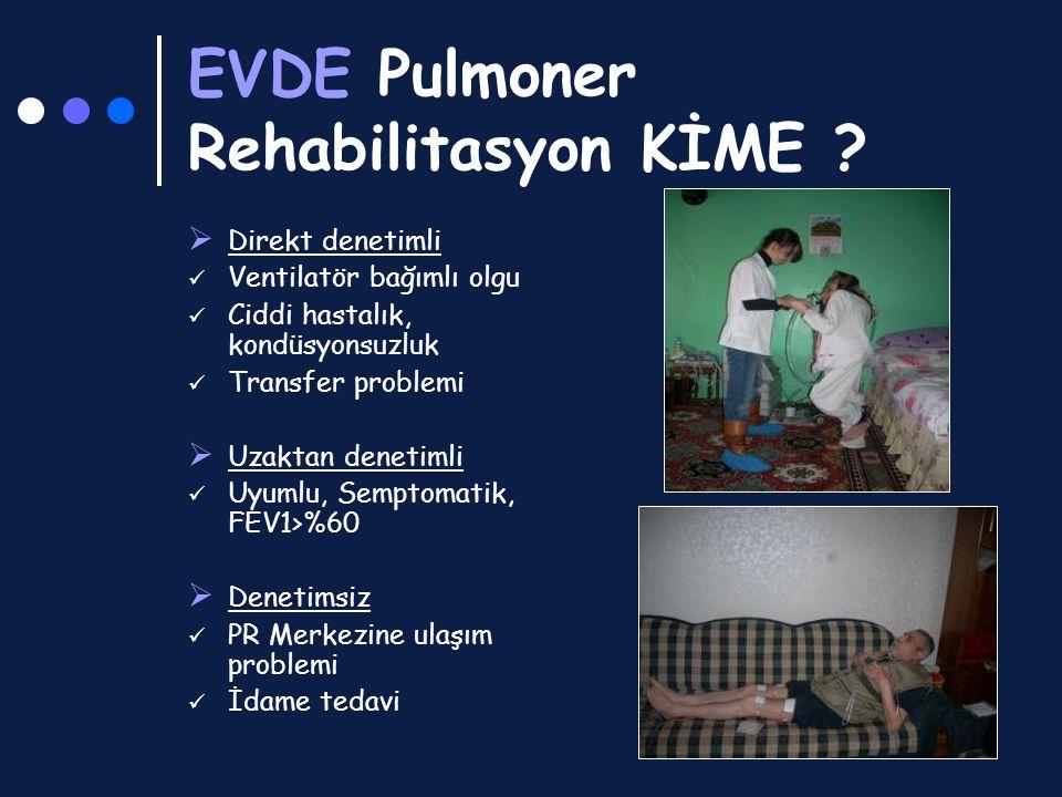 EVDE Pulmoner Rehabilitasyon KİME ?  Direkt denetimli Ventilatör bağımlı olgu Ciddi hastalık, kondüsyonsuzluk Transfer problemi  Uzaktan denetimli U