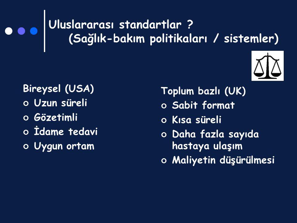 Uluslararası standartlar ? (Sağlık-bakım politikaları / sistemler) Bireysel (USA) Uzun süreli Gözetimli İdame tedavi Uygun ortam Toplum bazlı (UK) Sab