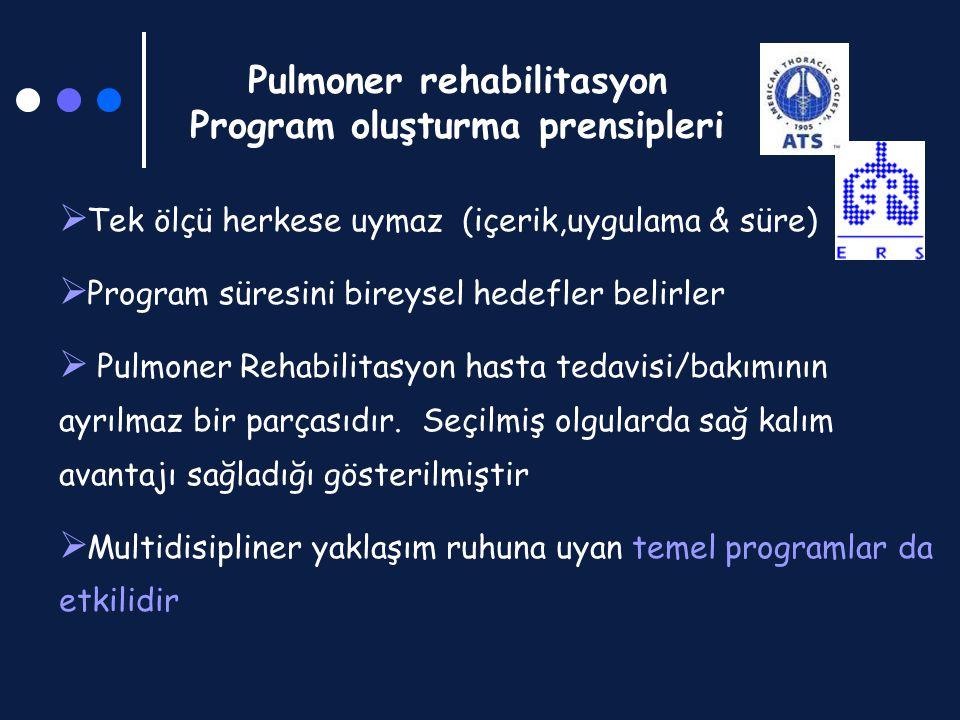 Pulmoner rehabilitasyon Program oluşturma prensipleri  Tek ölçü herkese uymaz (içerik,uygulama & süre)  Program süresini bireysel hedefler belirler