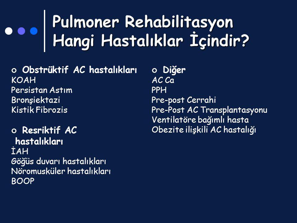 Pulmoner Rehabilitasyon; Yapılandırma AvantajlarıDezavantajları Hastanede yatarak Yoğun program Denetimli Güvenlik sorunu yok Yüksek maliyet Yakınların hariç tutulması Ayaktan takipli Ekonomik Güvenli Günlük ulaşım gerekliliği Toplum sağlığı merkezleri aracılı Ulaşım sorunu yok Kapasite fazla Personel eğitim/yeterliliği .