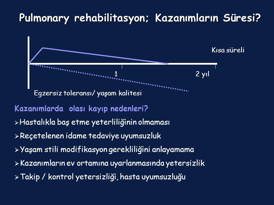 12 yıl Pulmonary rehabilitasyon; Kazanımların Süresi? Kısa süreli İdame ? Tekrar ? Egzersiz toleransı/ yaşam kalitesi Kazanımlarda olası kayıp nedenle