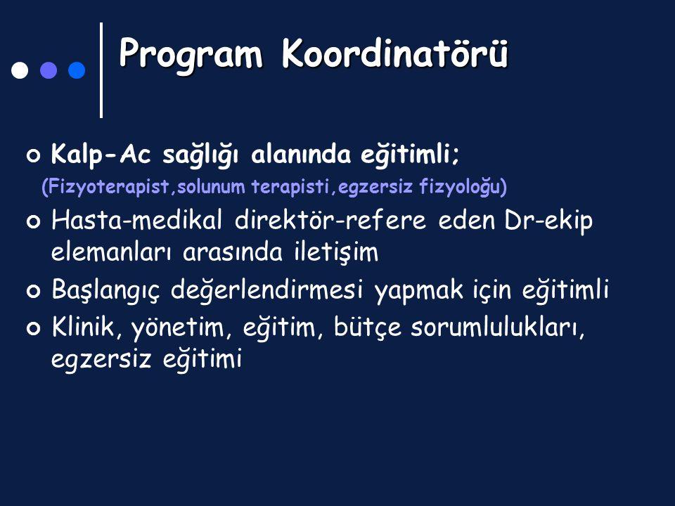 Program Koordinatörü Program Koordinatörü Kalp-Ac sağlığı alanında eğitimli; (Fizyoterapist,solunum terapisti,egzersiz fizyoloğu) Hasta-medikal direkt