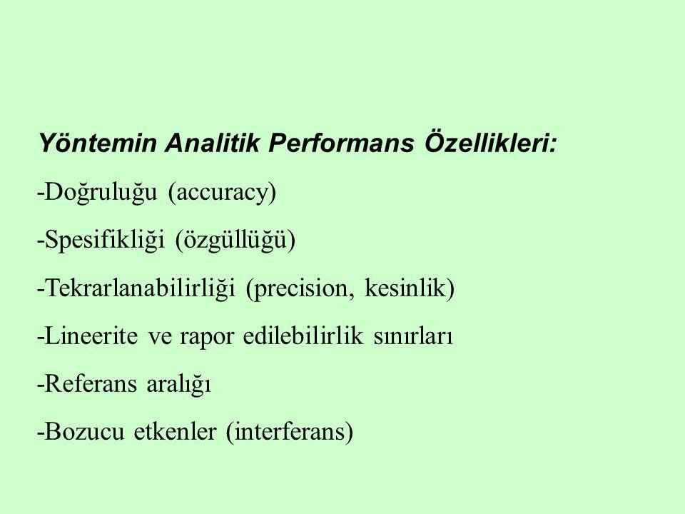Yöntemin Analitik Performans Özellikleri: -Doğruluğu (accuracy) -Spesifikliği (özgüllüğü) -Tekrarlanabilirliği (precision, kesinlik) -Lineerite ve rap