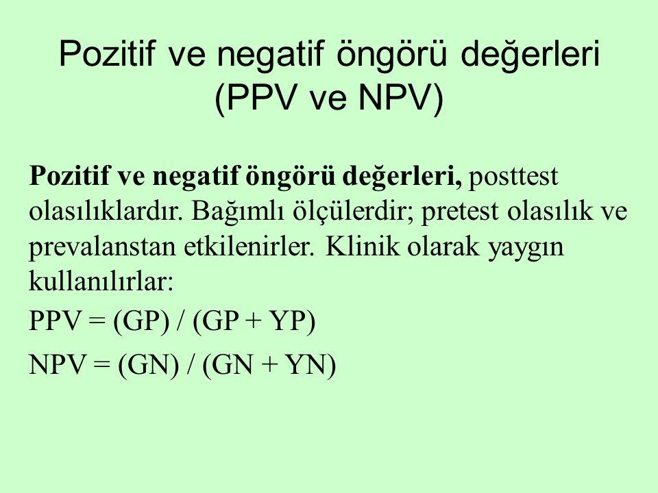 Pozitif ve negatif öngörü değerleri (PPV ve NPV) Pozitif ve negatif öngörü değerleri, posttest olasılıklardır. Bağımlı ölçülerdir; pretest olasılık ve