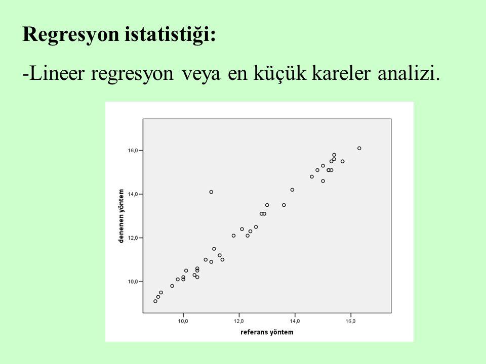 Regresyon istatistiği: -Lineer regresyon veya en küçük kareler analizi.