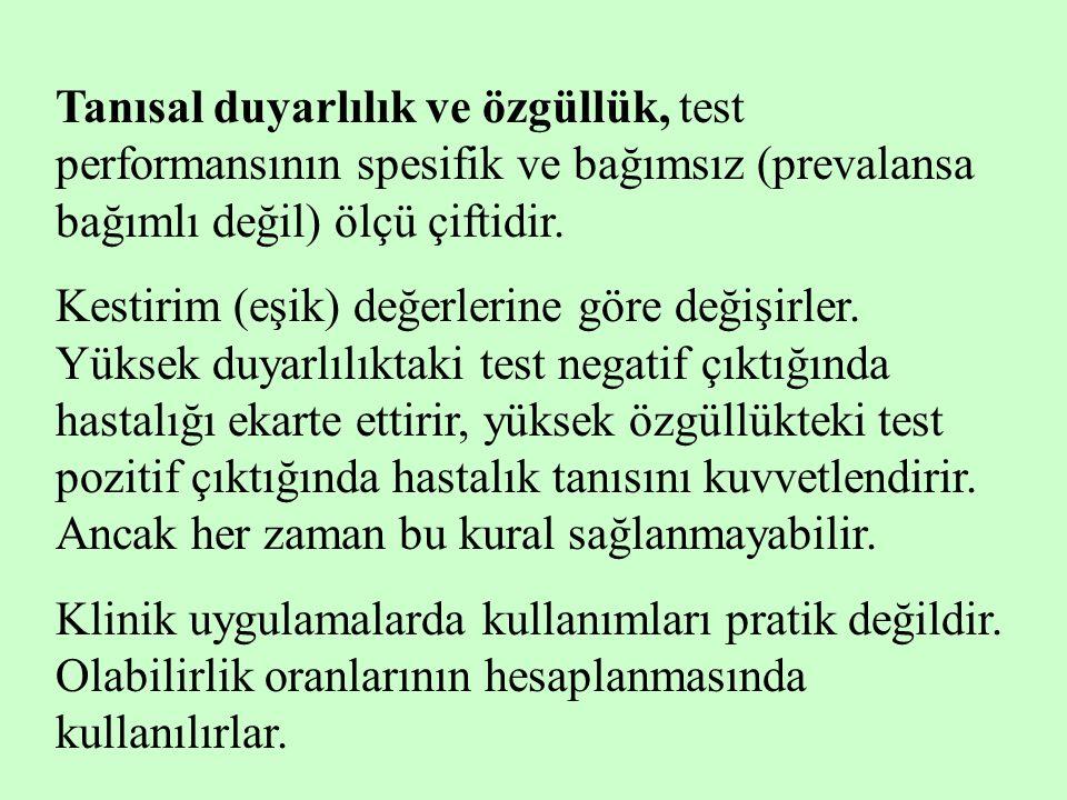 Tanısal duyarlılık ve özgüllük, test performansının spesifik ve bağımsız (prevalansa bağımlı değil) ölçü çiftidir. Kestirim (eşik) değerlerine göre de