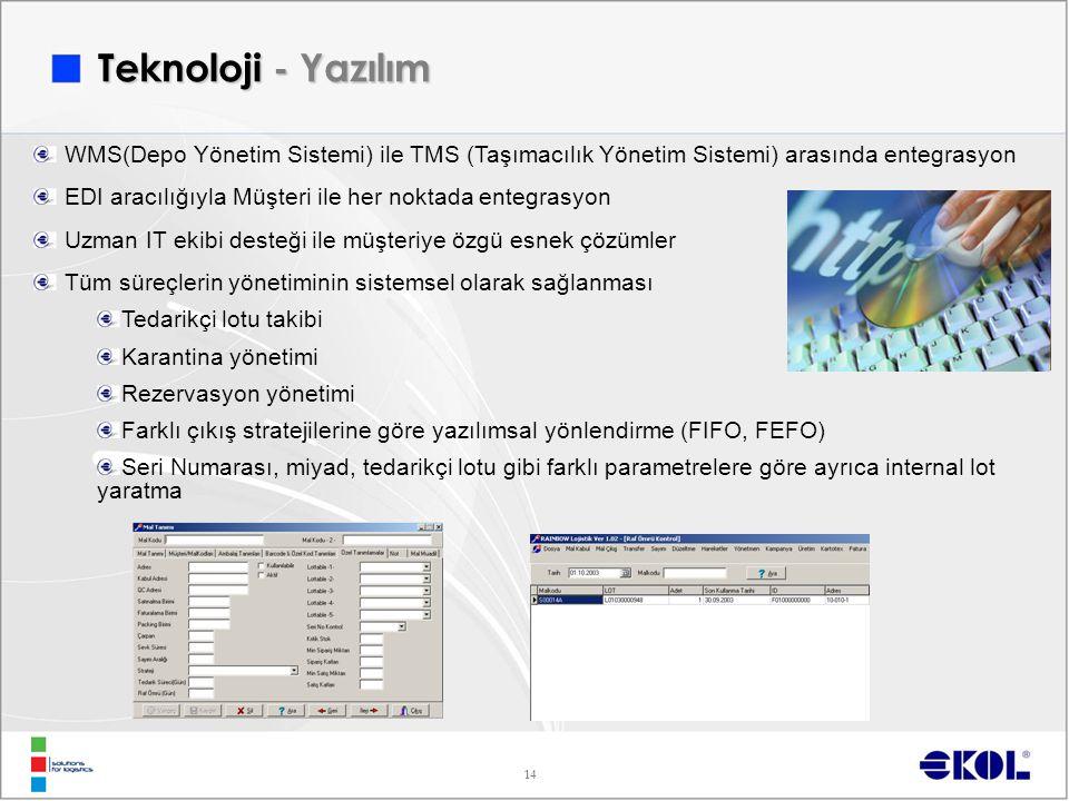 14 WMS(Depo Yönetim Sistemi) ile TMS (Taşımacılık Yönetim Sistemi) arasında entegrasyon EDI aracılığıyla Müşteri ile her noktada entegrasyon Uzman IT ekibi desteği ile müşteriye özgü esnek çözümler Tüm süreçlerin yönetiminin sistemsel olarak sağlanması Tedarikçi lotu takibi Karantina yönetimi Rezervasyon yönetimi Farklı çıkış stratejilerine göre yazılımsal yönlendirme (FIFO, FEFO) Seri Numarası, miyad, tedarikçi lotu gibi farklı parametrelere göre ayrıca internal lot yaratma Teknoloji - Yazılım