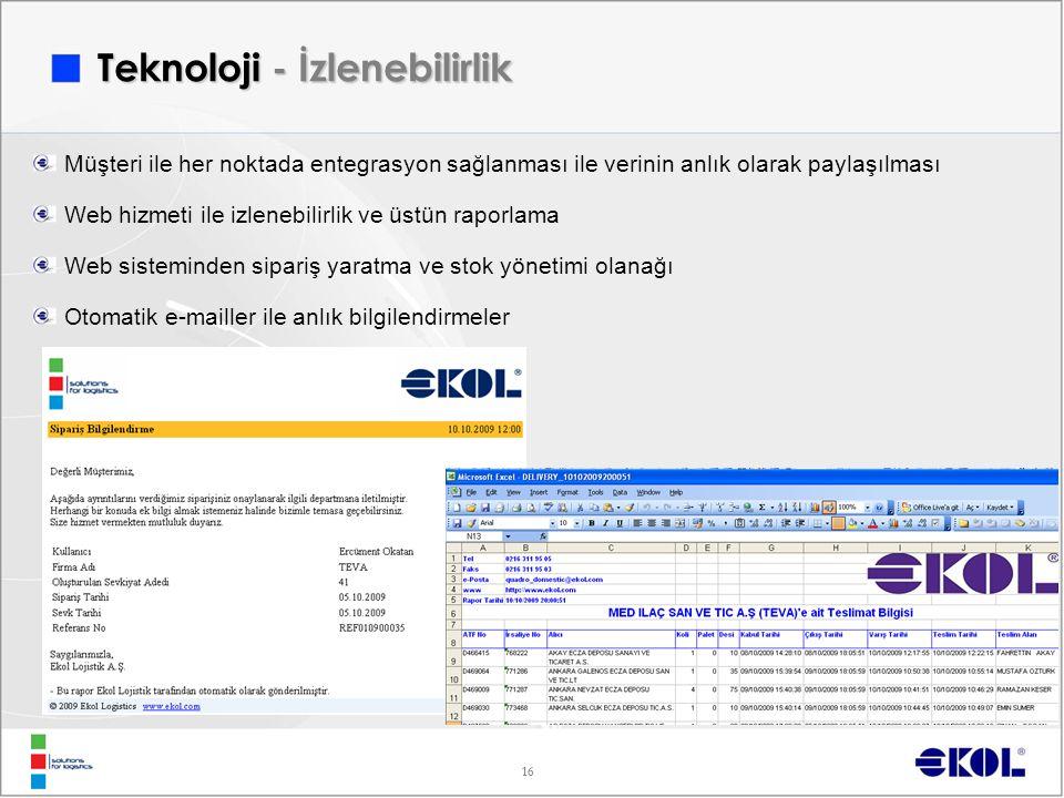 16 Müşteri ile her noktada entegrasyon sağlanması ile verinin anlık olarak paylaşılması Web hizmeti ile izlenebilirlik ve üstün raporlama Web sistemin