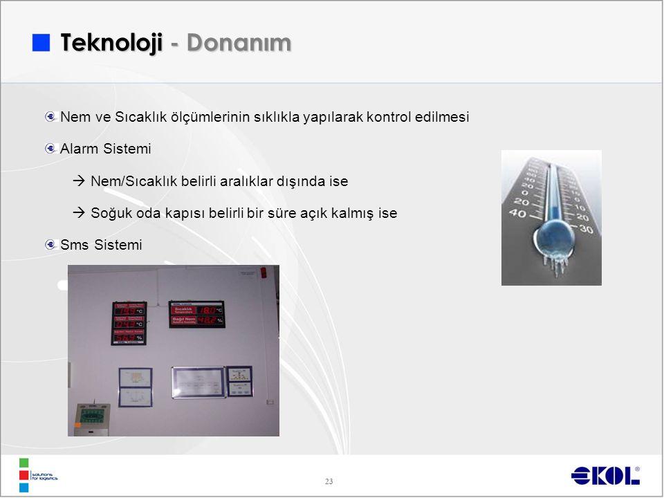 23 Teknoloji - Donanım Nem ve Sıcaklık ölçümlerinin sıklıkla yapılarak kontrol edilmesi Alarm Sistemi  Nem/Sıcaklık belirli aralıklar dışında ise  Soğuk oda kapısı belirli bir süre açık kalmış ise Sms Sistemi